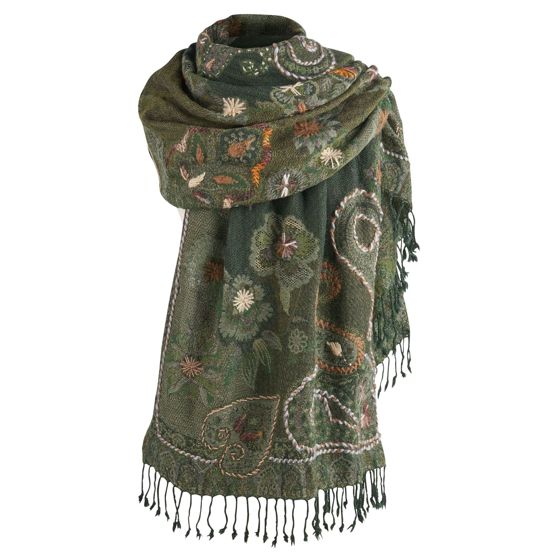 Classic Black Embroidery Flower Cotton Long Pashmina Shawl Wrap Soft Scarf