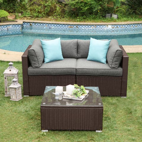 COSIEST 3-Piece Outdoor Furniture Loveseat with Coffee Table