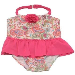Sol Swim Little Girls Fuchsia Paisley Flower UV Safe One Piece Swimsuit 2T