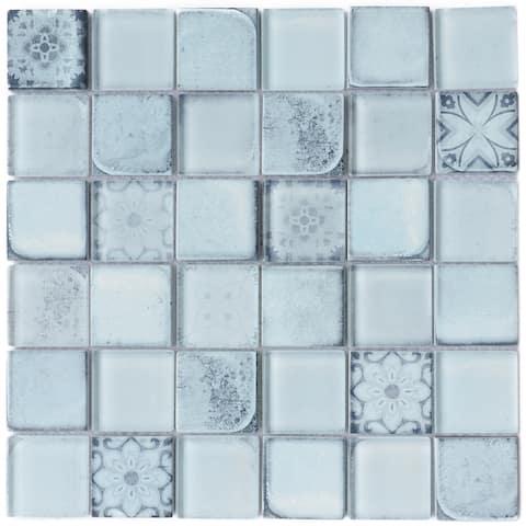 "TileGen. Classic Roman 2"" x 2"" Glass Mosaic in Sky Blue Wall Tile (10 sheets/9.7sqft.)"