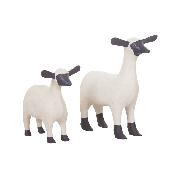 GuildMaster 2516527S 2 Piece Hand Painted Wood Sheep Statue
