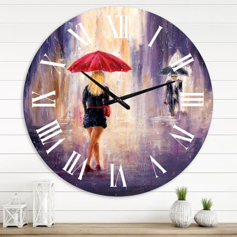 Designart 'The Woman With The Umbrella Walking In The Rain II' French Country wall clock