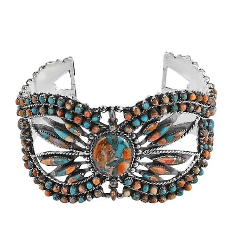 Sterling Silver Spiny Turquoise Cuff Bangle Bracelet 7 Inch Ct 17.5 - Bracelet 7''