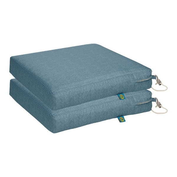 Duck Covers Weekend Water-Resistant 17 x 17 x 3 In. Outdoor Dining Seat Cushion, 2-Pack. Opens flyout.