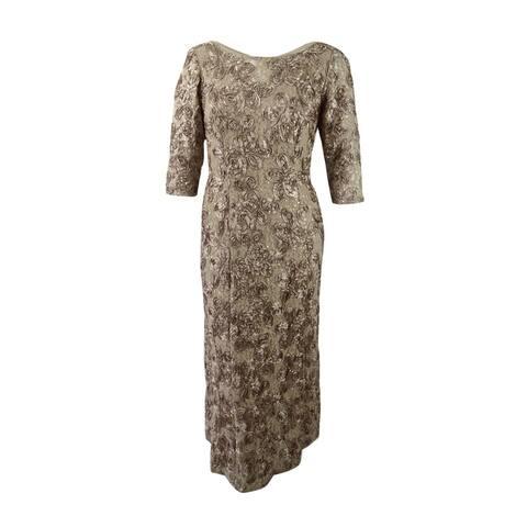 714441e6fef Alex Evenings Women s Rosette Detail A-Line Gown - Champagne