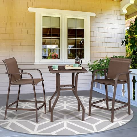 VredHom Outdoor Aluminum bar stools with Table (Set of 3)