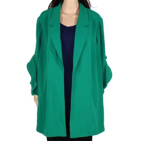 Alfani Womens Jacket Green Size 2X Plus Open Front Flutter Sleeves