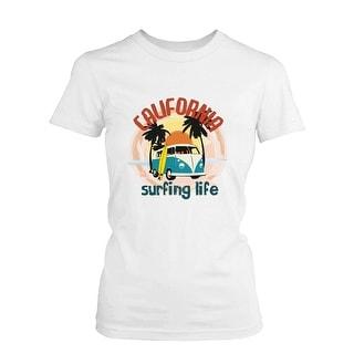 California Surfing Life Graphic Women's T-shirt Sunset Palm Tree Mini Van Tee Funny Shirt