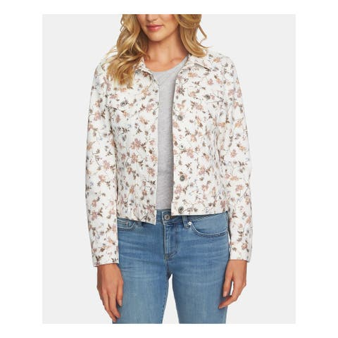 CECE Womens Ivory Pocketed Buttoned Floral Denim Jacket Size L