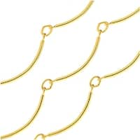 Gold Plated Bulk Chain, Scalloped Bar Links 18mm, 1 Foot, Bright Gold