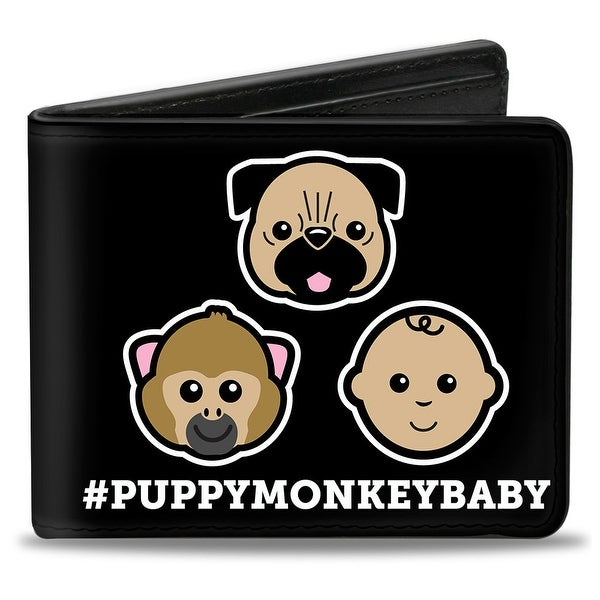 Puppy Monkey Baby Cartoon Faces #Puppymonkeybaby Black White Bi Fold Wallet - One Size Fits most