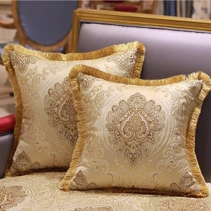 """Luxury Gold Verona Pillow Embellished With Trim 20""""X20"""""""