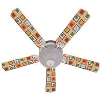 Tan Bright Mod Squares Designer 52in Ceiling Fan Blades Set - Multi