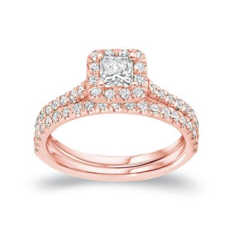 Auriya 14k Gold 1ctw Princess-cut Halo Diamond Engagement Ring Bridal Set Certified