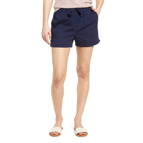Caslon Solid Navy Blue Women's Size XL Pull-On Drawstring Shorts