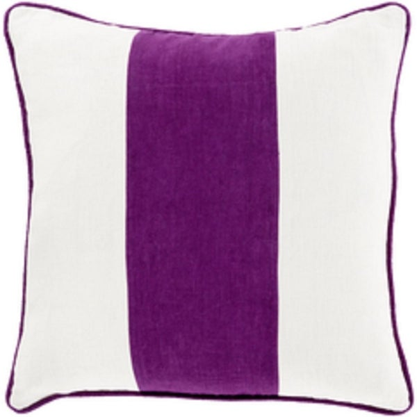 "22"" Lavender and Cream White Warm Stripes Decorative Throw Pillow-Down Filler"