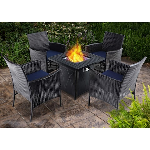 "PHI VILLA 28"" Gas Fire Pit Table with 4 Rattan Chairs, 5 Piece Propane Fire Pit Setwith 5Kg Fire Glass"