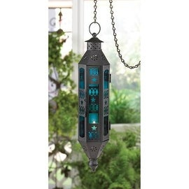 Sapphire Serenity Hanging Candle Lantern