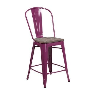 "Offex 24"" High Bistro Style Purple Metal Counter Height Stool with Back and Wood Seat"