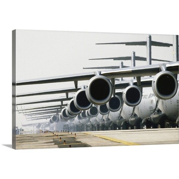 """Row of McDonnell Douglas C-17 Globemaster III planes on runway"" Canvas Wall Art"