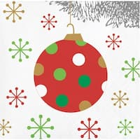 """Pack of 192 Red and White Christmas Ball Ornament Party Beverage Napkins 5"""""""
