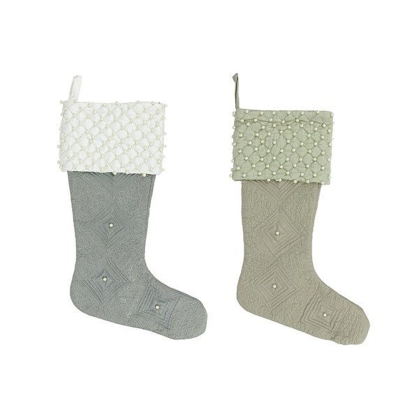 """Set of 2 Quilted Pewter and Tan Pearl Cuffed Decorative Christmas Stocking 18"""""""