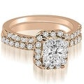 1.34 cttw. 14K Rose Gold Emerald Cut Halo Diamond Bridal Set - Thumbnail 0