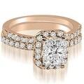 1.59 cttw. 14K Rose Gold Emerald Cut Halo Diamond Bridal Set - Thumbnail 0