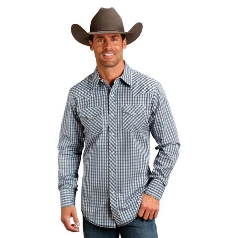 Stetson Western Shirt Mens L/S Plaid Snap Blue