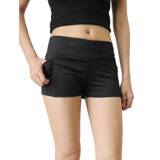 Black Quick Dry Elastic Waistband Skinny Running Yoga Sport Shorts Pants Size S