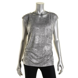 Calvin Klein Womens Metallic Ruched Pullover Top