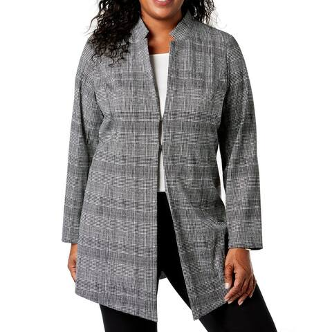 Alfani Women's Jacket Black Size 18W Plus Houndstooth Notch Collar