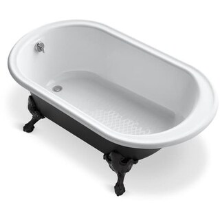"Kohler K-710-P5 Iron Works Collection 66"" Clawfoot Bath Tub with Black Exterior, Less Feet"