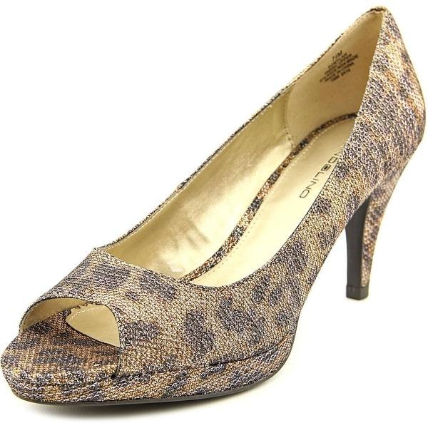 Bandolino Mylah Women Open Toe Canvas Gold Platform Heel