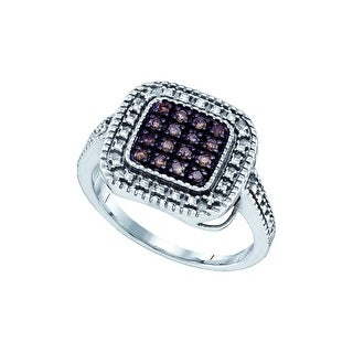 Sterling Silver Cognac-brown Colored Diamond Womens Slender Square-shape Cluster Fine Daily Ring 1/5 Ctw - Brown