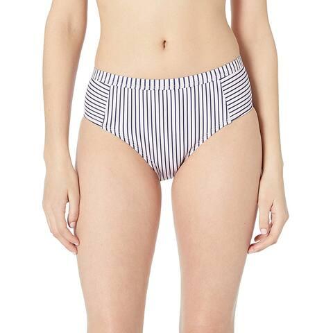 Splendid Women's High Waist Swimsuit Bikini Bottom, Thin Blue, Black, Size Large