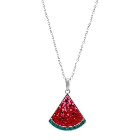 Watermelon Slice Pendant with Crystals in Sterling Silver, 18 Inches - Red
