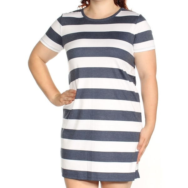 d6237e71c9b Shop MICHAEL KORS Womens Navy Striped Short Sleeve Crew Neck Mini Shift  Dress Size  XL - On Sale - Free Shipping On Orders Over  45 - Overstock -  23456853