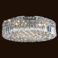 """Worldwide Lighting W33508C20 Cascade 6-Light 20"""" Flush Mount Ceiling Fixture in Chrome with Clear Crystals - N/A"""