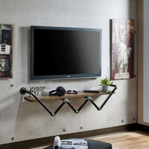 Vittorio Reclaimed Oak Industrial Pipe Wall Shelf