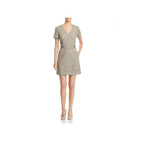 Tory Burch Womens Priscilla Scuba Dress Tweed V-Neck