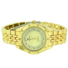 Mens Gold Tone Watch Ice Time Jubiilee Band Classy Yellow Analog Display Real Diamonds