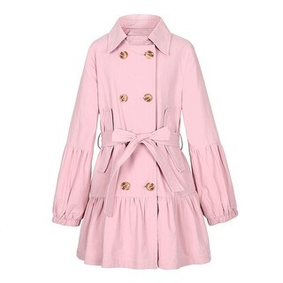Richie House Girls Pink Puff Sleeves Belt Double Breasted Jacket