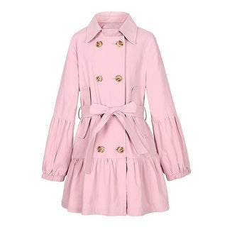 Richie House Little Girls Pink Puff Sleeves Belt Double Breasted Jacket