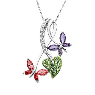Crystaluxe Butterfly Pendant with Swarovski Crystals in Sterling Silver - Purple