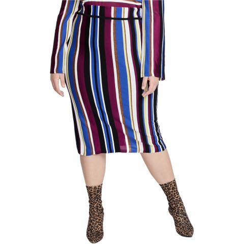 Rachel Roy Womens Royal Stripe Pencil Skirt