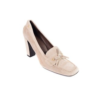 Prada Car Shoe Womens Beige Suede Tie Square Toe Pumps