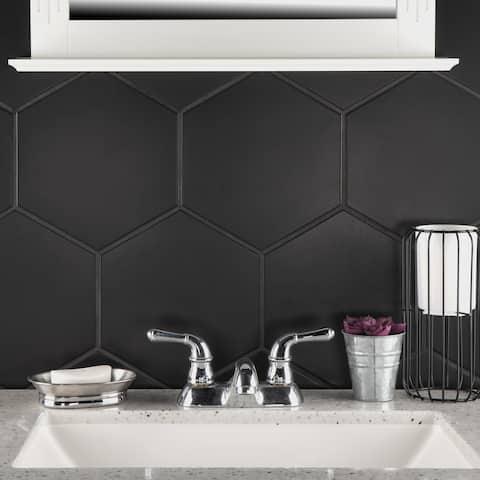 "SomerTile Textile Hex Black 8.63"" x 9.86"" Porcelain Floor and Wall Tile"