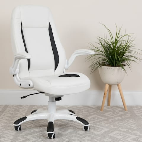 High Back White LeatherSoft Executive Ergonomic Office Chair with Flip-Up Arms