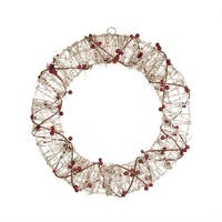 "18"" Pre-Lit Champagne Gold Glittered Rattan Berry Artificial Christmas Wreath - Clear Lights"
